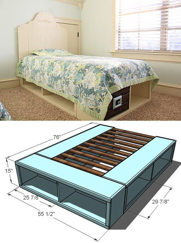 DIY Platform Beds - Twin Storage Bed - Easy Do It Yourself Bed Projects - Step by Step Tutorials for Bedroom Furniture - Learn How To Make Twin, Full, King and Queen Size Platforms - With Headboard, Storage, Drawers, Made from Pallets - Cheap Ideas You Can Make on a Budget http://diyjoy.com/diy-platform-beds