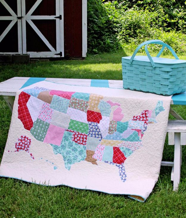 Best Quilts to Make This Weekend - U.S. Map Quilt - Free Quilt Patterns and Quilting Tutorials - Quilting for Beginners and Sewing Ideas - DIY Baby Quilts, Printables, New and Easy Modern Quilts, Jelly Roll, Quilt Squares, Fat Quarters and Scrap Ideas #diy #quilting #sewing