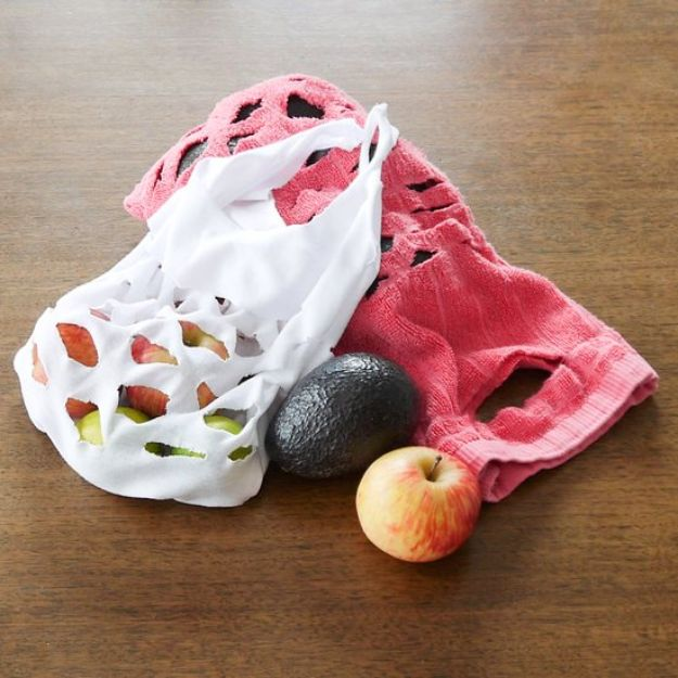 DIY Ideas With Old Towels - Upcycled Eco-Friendly Produce Bags - Cool Crafts To Make With An Old Towel - Cheap Do It Yourself Gifts and Home Decor on A Budget - Creative But Cheap Ideas for Decorating Your House and Room - Upcycle Those Towels Instead of Throwing Them Away! http://diyjoy.com/diy-ideas-old-towels