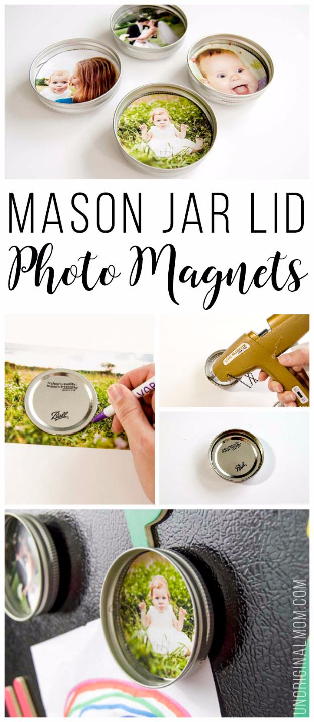 Cool Gifts to Make For Mom - Upcycled Mason Jar Lid Photo Magnets - DIY Gift Ideas and Christmas Presents for Your Mother, Mother-In-Law, Grandma, Stepmom - Creative , Holiday Crafts and Cheap DIY Gifts for The Holidays - Thoughtful Homemade Spa Day Gifts, Creative Wall Art, Special Ideas for Her - Easy Xmas Gifts to Make With Step by Step Tutorials and Instructions #diygifts #mom