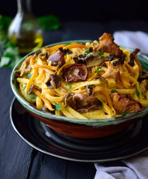 Best Fall Recipes and Ideas for Dinner - Vegan Pumpkin Pasta Sauce with Wild Mushrooms - Quick Meals With Chicken, Beef and Fish, Easy Crockpot Meals and Make Ahead Soups and Dinners - Healthy Dinner Recipes and Fast Last Minute Foods With Spinach, Vegetables, Butternut Squash, Pumpkin and Nuts