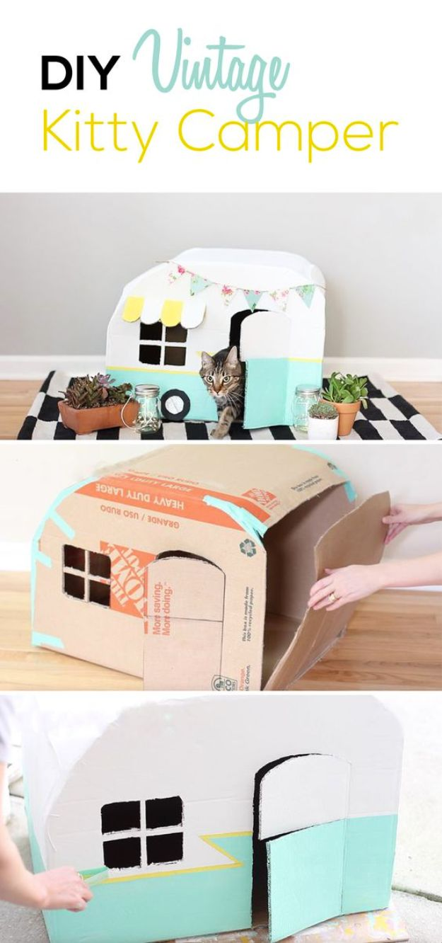 DIY Ideas With Cardboard - Vintage Kitty Camper Out Of Cardboard Boxes - How To Make Room Decor Crafts for Kids - Easy and Crafty Storage Ideas For Room - Toilet Paper Roll Projects Tutorials - Fun Furniture Ideas with Cardboard - Cheap, Quick and Easy Wall Decorations http://diyjoy.com/diy-ideas-cardboard