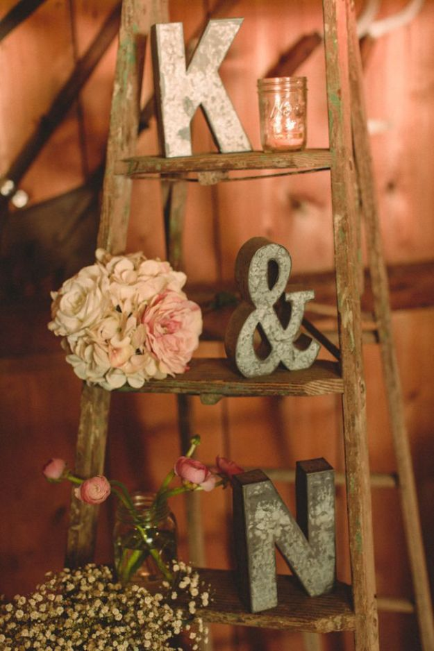 DIY Wedding Decor - Vintage Ladder For Wedding Display - Easy and Cheap Project Ideas with Things Found in Dollar Stores - Simple and Creative Backdrops for Receptions On A Budget - Rustic, Elegant, and Vintage Paper Ideas for Centerpieces, and Vases