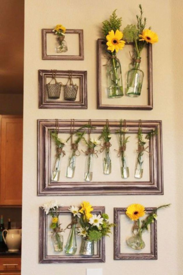 DIY Ideas With Old Picture Frames - Wall Flowers - Cool Crafts To Make With A Repurposed Picture Frame - Cheap Do It Yourself Gifts and Home Decor on A Budget - Fun Ideas for Decorating Your House and Room http://diyjoy.com/diy-ideas-picture-frames