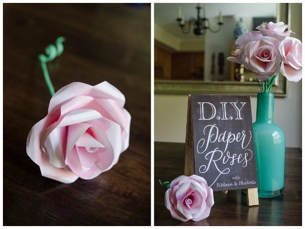 DIY Paper Flowers - Watercolor Paper Rose - How To Make A Paper Flower - Large Wedding Backdrop for Wall Decor - Easy Tissue Paper Flower Tutorial for Kids - Giant Projects for Photo Backdrops - Daisy, Roses, Bouquets, Centerpieces - Cricut Template and Step by Step Tutorial http://diyjoy.com/diy-paper-flowers