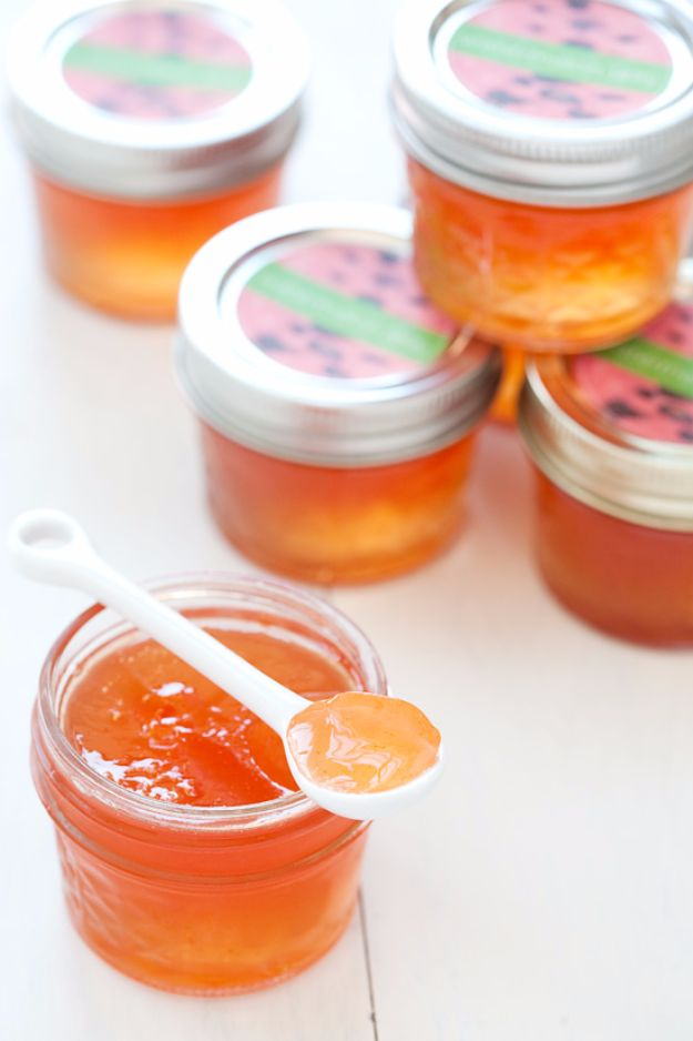 Best Jam and Jelly Recipes - Watermelon Jelly - Homemade Recipe Ideas For Canning - Easy and Unique Jams and Jellies Made With Strawberry, Raspberry, Blackberry, Peach and Fruit - Healthy, Sugar Free, No Pectin, Small Batch, Savory and Freezer Recipes http://diyjoy.com/jam-jelly-recipes