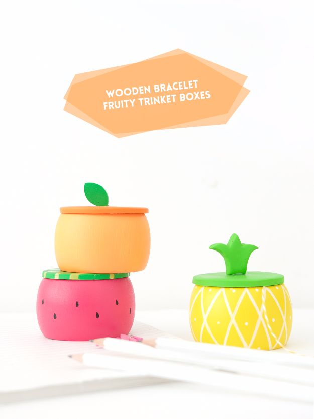 Cool Gifts to Make For Mom - Wooden Bracelet Fruity Trinket Boxes - DIY Gift Ideas and Christmas Presents for Your Mother, Mother-In-Law, Grandma, Stepmom - Creative , Holiday Crafts and Cheap DIY Gifts for The Holidays - Thoughtful Homemade Spa Day Gifts, Creative Wall Art, Special Ideas for Her - Easy Xmas Gifts to Make With Step by Step Tutorials and Instructions #diygifts #mom