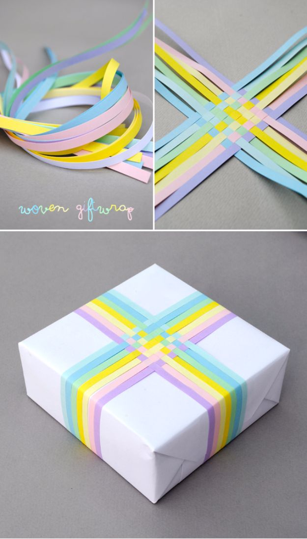 Cool Gift Wrapping Ideas - Woven Gift Wrap - Creative Ways To Wrap Presents on A Budget - Best Christmas Gift Wrap Ideas - How To Make Gift Bags, Reuse Wrapping Paper, Make Bows and Tags - Cute and Easy Ideas for Wrapping Gifts for the Holidays - Step by Step Instructions and Photo Tutorials http://diyjoy.com/gift-wrapping-tutorials