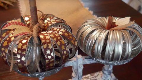 Fall Craft Idea Mason Jar Ring Pumpkins