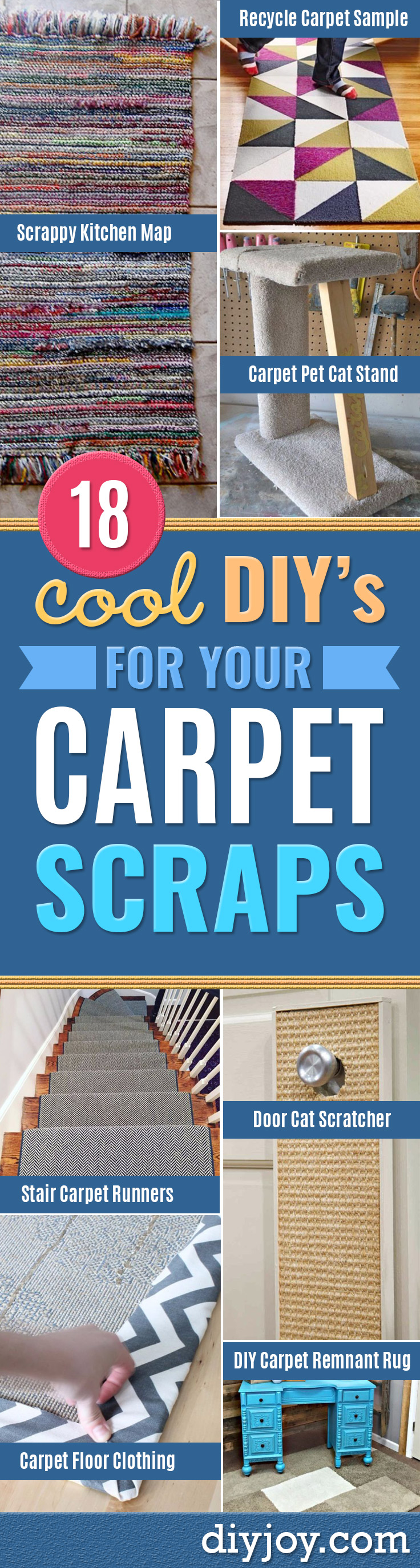 DIY Ideas With Carpet Scraps - Cool Crafts To Make With Old Carpet Remnants - Cheap Do It Yourself Gifts and Home Decor on A Budget - Creative But Cheap Ideas for Decorating Your House and Room - Painted, No Sew and Creative Arts and Craft Projects http://diyjoy.com/diy-ideas-carpet-scraps