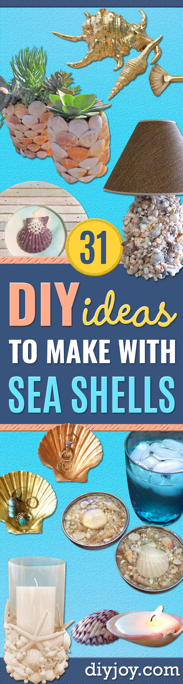 DIY Ideas With Sea Shells - Best Cute Sea Shell Crafts for Adults and Kids - Easy Beach House Decor Ideas With Sand and Large Shell Art - Wall Decor and Home, Bedroom and Bath - Cheap DIY Projects Make Awesome Homemade Gifts http://diyjoy.com/diy-ideas-sea-shells