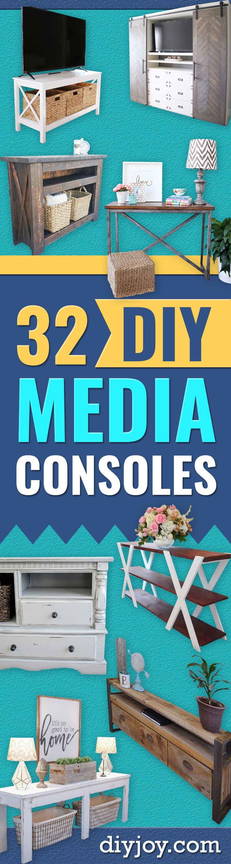 DIY Media Consoles and TV Stands - Make a Do It Yourself Entertainment Center With These Easy Step By Step Tutorials - Easy Farmhouse Decor Media Stand for Television - Free Plans and Instructions for Building and Painting Your Own DIY Furniture - IKEA Hacks for TV Stand Idea - Quick and Easy Ways to Decorate Your Home On A Budget http://diyjoy.com/diy-tv-media-consoles