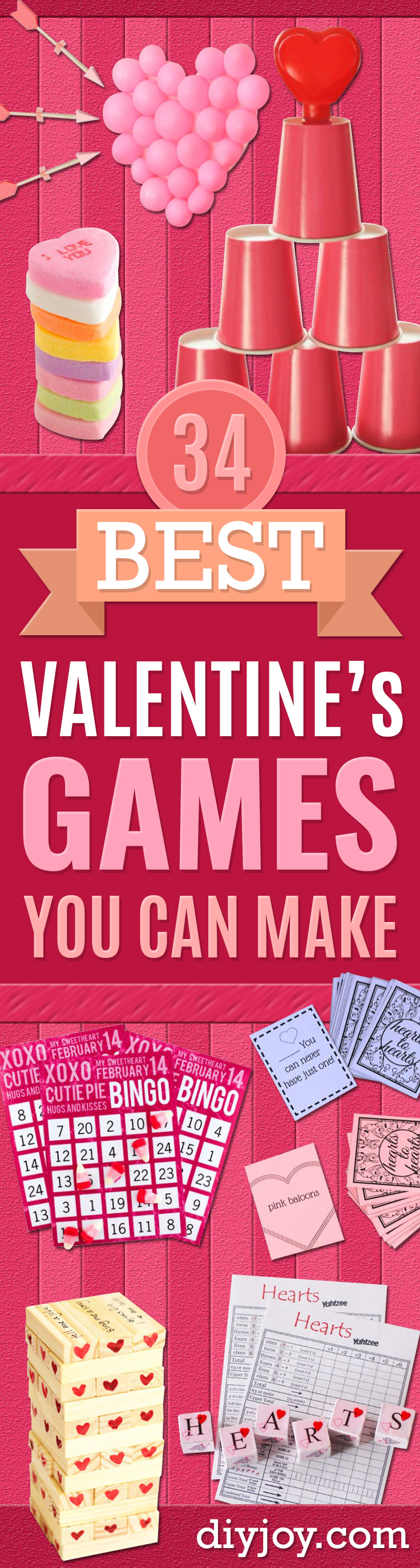 Cool Games To Make for Valentines Day - Cheap and Easy Crafts For Valentine Parties - Ideas for Kids and Adults to Play Bingo, Matching, Free Printables and Cute Game Projects With Hearts, Red and Pink Art Ideas - Adorable Fun for The Holiday Celebrations