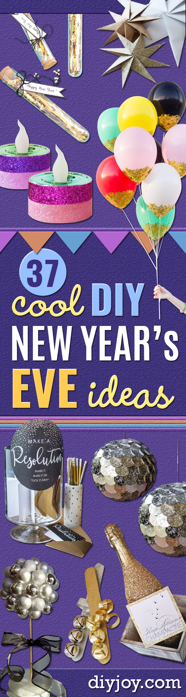 New Years Eve Decor Ideas - DIY New Year's Eve Decorations - Cheap Ideas for Banners, Balloons, Party Tables, Centerpieces and Festive Streamers and Lights - Cool Placecards, Photo Backdrops, Party Hats, Party Horns and Champagne Glasses - Cute Invitations, Games and Free Printables http://diyjoy.com/new-years-eve-decor-ideas