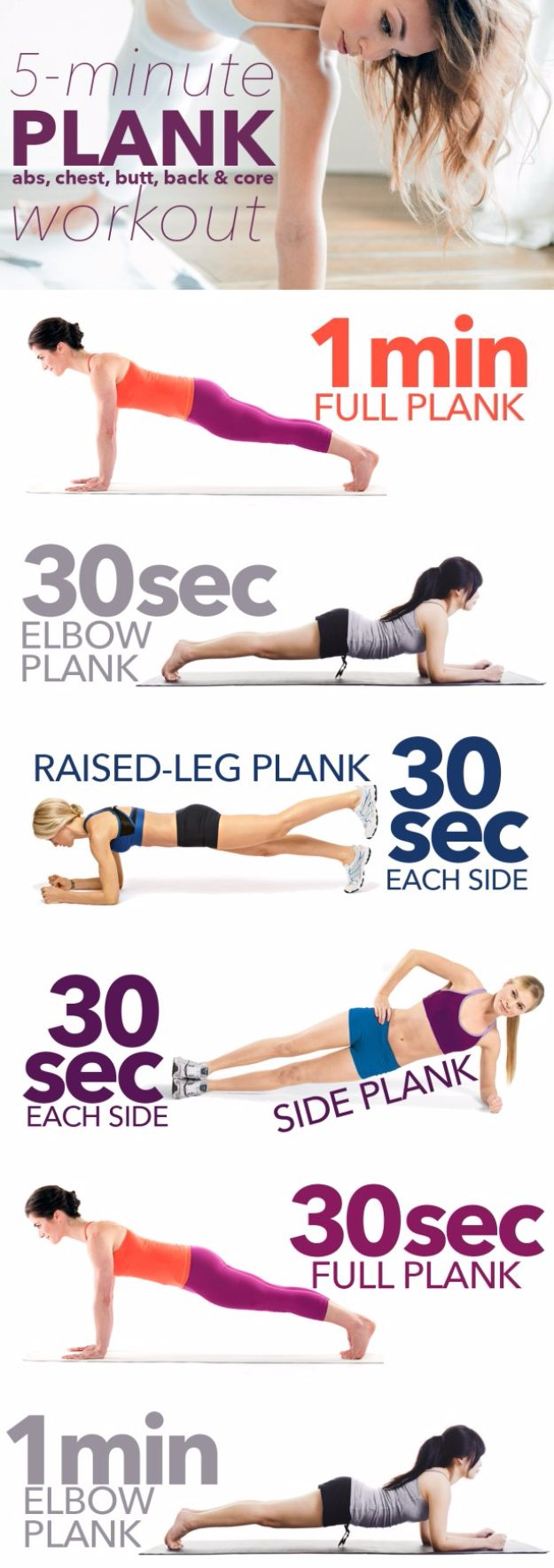 """Best Exercises for 2018 - 5-minute """"Almost-No-Work"""" Plank Workout - Easy At Home Exercises - Quick Exercise Tutorials to Try at Lunch Break - Ways To Get In Shape - Butt, Abs, Arms, Legs, Thighs, Tummy http://diyjoy.com/best-at-home-exercises-2018"""