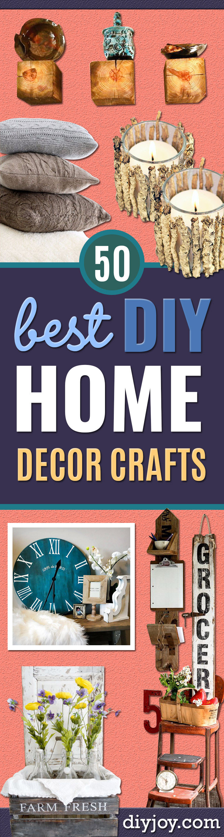 Best DIY Home Decor Crafts - Easy Craft Ideas To Make From Dollar Store Items - Cheap Wall Art, Easy Do It Yourself Gifts, Modern Wall Art On A Budget, Tabletop and Centerpiece Tutorials - Cool But Affordable Room and Home Decor With Step by Step Tutorials http://diyjoy.com/diy-home-decor-crafts