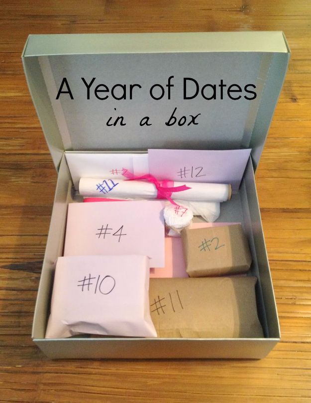 DIY Valentines Day Gifts for Him - A Year Of Dates In A Box - Cool and Easy Things To Make for Your Husband, Boyfriend, Fiance - Creative and Cheap Do It Yourself Projects to Give Your Man - Ideas Guys Love These Ideas for Car, Yard, Home and Garage - Make, Don't Buy Your Valentine http://diyjoy.com/diy-valentines-gifts-him