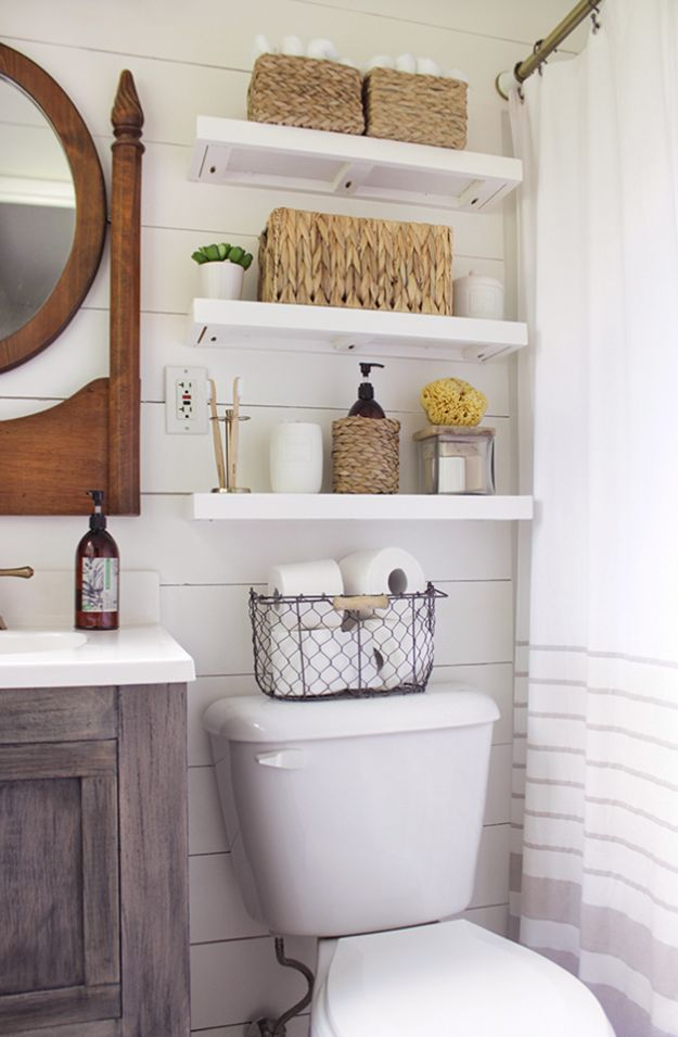 DIY Bathroom Storage Ideas - Above The Toilet Bathroom Shelves - Best Solutions for Under Sink Organization, Countertop Jars and Boxes, Counter Caddy With Mason Jars, Over Toilet Ideas and Shelves, Easy Tips and Tricks for Small Spaces To Organize Bath Products http://diyjoy.com/diy-bathroom-storage-ideas