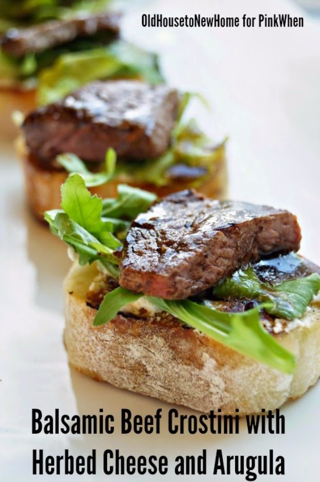 New Years Eve Party Recipes -Balsamic Beef Crostini with Herbed Cheese and Arugula - Best New Year Drinks, Cocktails, Appetizers and Party Foods for Your New Year's Eve Celebration - Quick Desserts, Snacks, Dips, Finger Foods, Cake and Champagne Toast Recipe Ideas - Fun and Easy Foods To Serve For A Crowd #newyears #recipes