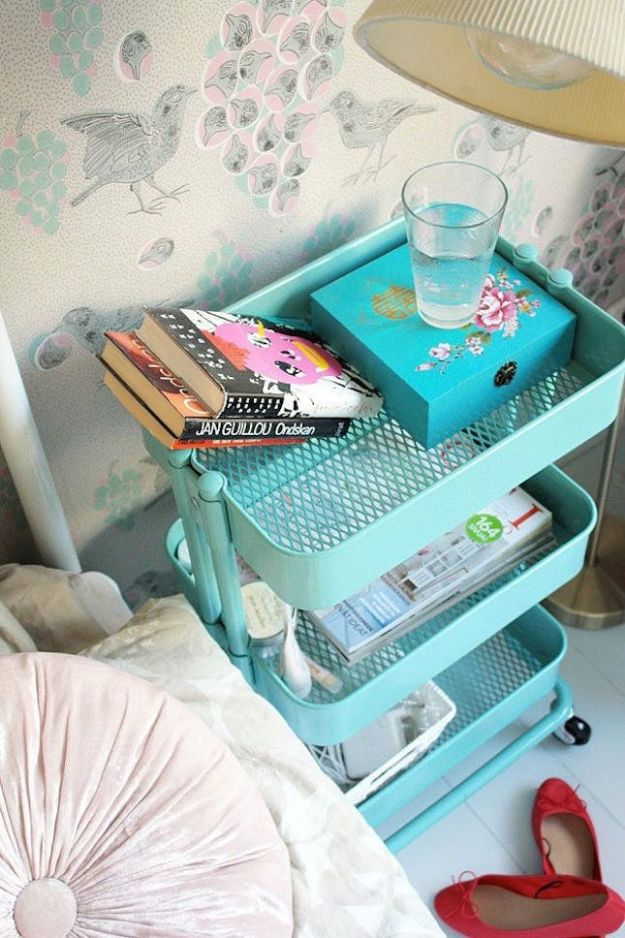 IKEA Hacks For The Bedroom - Bar Cart - Best IKEA Furniture Hack Ideas for Bed, Storage, Nightstand, Closet System and Storage, Dresser, Vanity, Wall Art and Kids Rooms - Easy and Cheap DIY Projects for Affordable Room and Home Decor #ikeahacks #diydecor #bedroomdecor
