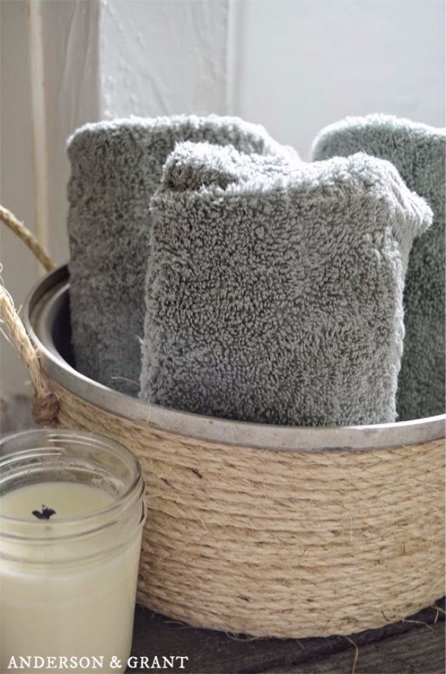 DIY Bathroom Storage Ideas - Basket Out of an Old Pot - Best Solutions for Under Sink Organization, Countertop Jars and Boxes, Counter Caddy With Mason Jars, Over Toilet Ideas and Shelves, Easy Tips and Tricks for Small Spaces To Organize Bath Products http://diyjoy.com/diy-bathroom-storage-ideas
