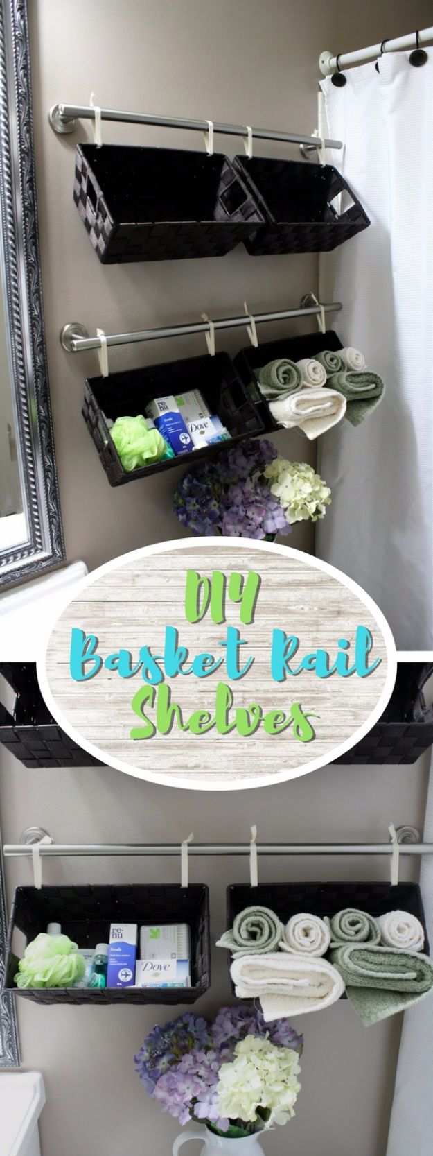 DIY Bathroom Storage Ideas - Basket Rail Shelves - Best Solutions for Under Sink Organization, Countertop Jars and Boxes, Counter Caddy With Mason Jars, Over Toilet Ideas and Shelves, Easy Tips and Tricks for Small Spaces To Organize Bath Products http://diyjoy.com/diy-bathroom-storage-ideas