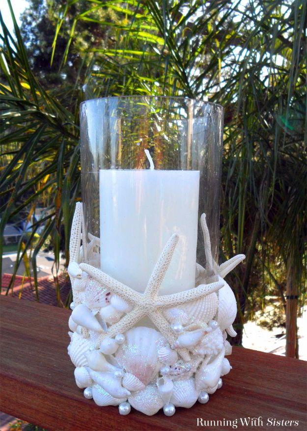 DIY Ideas With Sea Shells - Beachcomber Seashell Candleholder - Best Cute Sea Shell Crafts for Adults and Kids - Easy Beach House Decor Ideas With Sand and Large Shell Art - Wall Decor and Home, Bedroom and Bath - Cheap DIY Projects Make Awesome Homemade Gifts http://diyjoy.com/diy-ideas-sea-shells