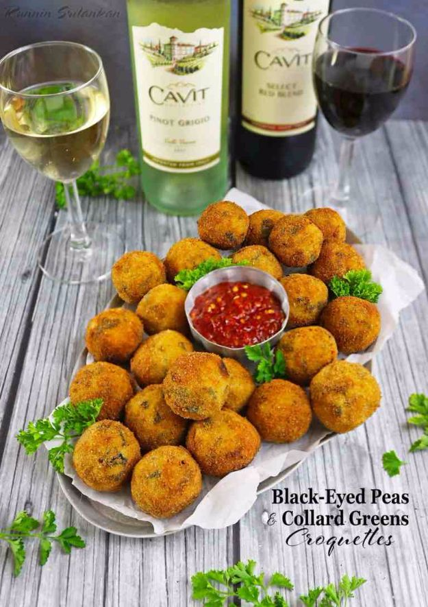 New Years Eve Party Recipes - Black-Eyed Peas And Collard Greens Croquettes - Best New Year Drinks, Cocktails, Appetizers and Party Foods for Your New Year's Eve Celebration - Quick Desserts, Snacks, Dips, Finger Foods, Cake and Champagne Toast Recipe Ideas - Fun and Easy Foods To Serve For A Crowd http://diyjoy.com/new-years-eve-recipes