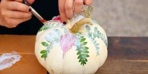 Learn How to Paint A Pumpkin With Fall Foliage