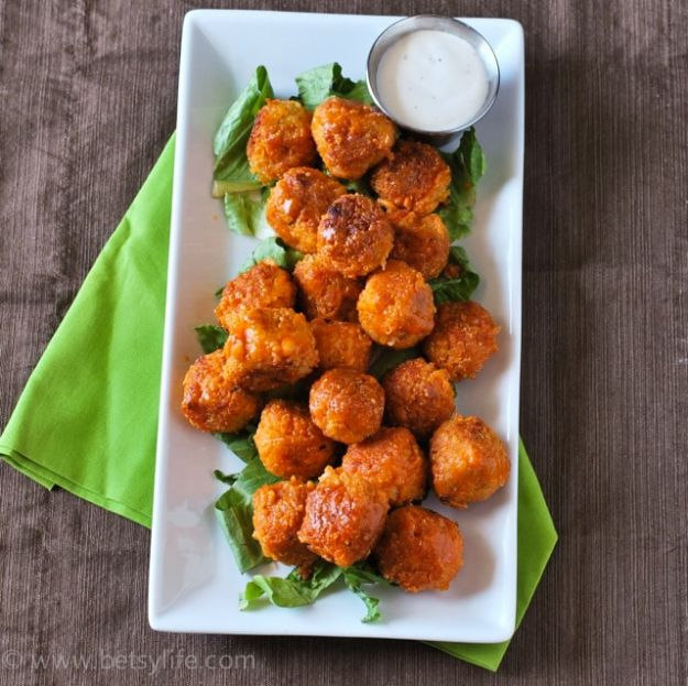 New Years Eve Party Recipes -Buffalo Quinoa Bites - Best New Year Drinks, Cocktails, Appetizers and Party Foods for Your New Year's Eve Celebration - Quick Desserts, Snacks, Dips, Finger Foods, Cake and Champagne Toast Recipe Ideas - Fun and Easy Foods To Serve For A Crowd #newyears #recipes