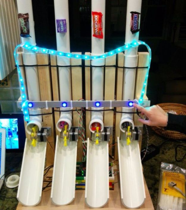 DIY Gadgets - Build an Arduino-Powered Candy Vending Machine - Homemade Gadget Ideas and Projects for Men, Women, Teens and Kids - Steampunk Inventions, How To Build Easy Electronics, Cool Spy Gear and Do It Yourself Tech Toys http://diyjoy.com/diy-gadgets