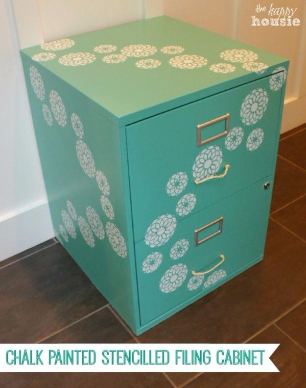 Best Furniture Hacks - Chalk Painted Stenciled Filing Cabinet - Easy DIY Furniture Makeover Ideas for Cheap Home Decor - IKEA Hack Tutorials, Dressers, Cribs, Storage, For Kids, Bedroom and Good Ideas for Bath - Anthropologie, Walmart, Kmart, Target http://diyjoy.com/best-furniture-hacks