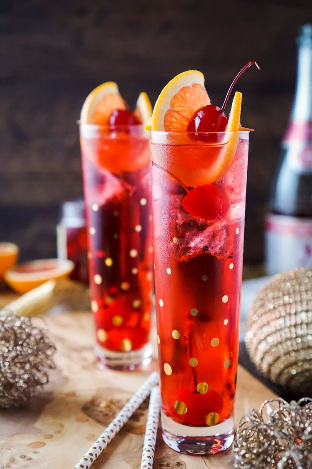 Best Drink Recipes for New Years Eve - Champagne Shirley Temple - Creative Cocktails, Drinks, Champagne Toasts, and Punch Mixes for A New Year's Eve Party - Ideas for Serving, Glasses, Fun Ideas for Shots and Cocktails - Easy Vodka Recipes, Non Alcoholic, Whisky Rum and Party Punches #newyearseve