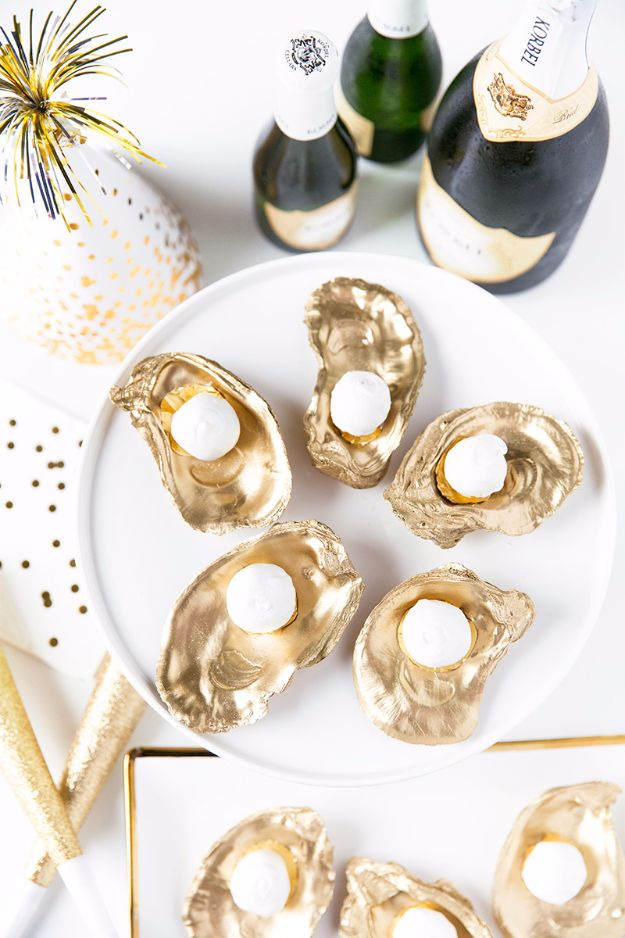 New Years Eve Party Recipes - Champagne Truffles On The Half Shell - Best New Year Drinks, Cocktails, Appetizers and Party Foods for Your New Year's Eve Celebration - Quick Desserts, Snacks, Dips, Finger Foods, Cake and Champagne Toast Recipe Ideas - Fun and Easy Foods To Serve For A Crowd http://diyjoy.com/new-years-eve-recipes