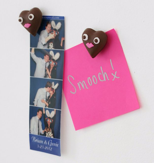 DIY Valentines Day Gifts for Him - Chocolate Heart Magnets - Cool and Easy Things To Make for Your Husband, Boyfriend, Fiance - Creative and Cheap Do It Yourself Projects to Give Your Man - Ideas Guys Love These Ideas for Car, Yard, Home and Garage - Make, Don't Buy Your Valentine