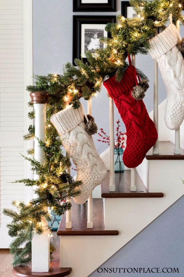 Cheap DIY Christmas Decor Ideas and Holiday Decorating On A Budget - Christmas Entry Decor - Easy and Quick Decorating Ideas for The Holidays - Cool Dollar Store Crafts for Xmas Decorating On A Budget - wreaths, ornaments, bows, mantel decor, front door, tree and table centerpieces - best ideas for beautiful home decor during the holidays http://diyjoy.com/cheap-diy-christmas-decor