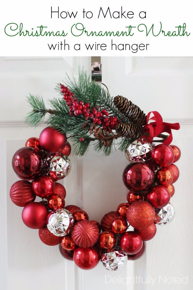 Cheap DIY Christmas Decor Ideas and Holiday Decorating On A Budget - Christmas Ornament Wreath With A Wire Hanger - Easy and Quick Decorating Ideas for The Holidays - Cool Dollar Store Crafts for Xmas Decorating On A Budget - wreaths, ornaments, bows, mantel decor, front door, tree and table centerpieces - best ideas for beautiful home decor during the holidays http://diyjoy.com/cheap-diy-christmas-decor