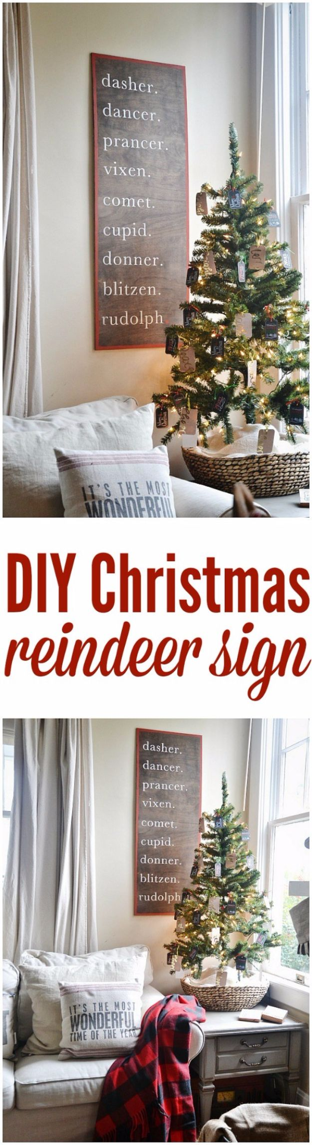 Cheap DIY Christmas Decor Ideas and Holiday Decorating On A Budget - Christmas Reindeer Sign - Easy and Quick Decorating Ideas for The Holidays - Cool Dollar Store Crafts for Xmas Decorating On A Budget - wreaths, ornaments, bows, mantel decor, front door, tree and table centerpieces #christmas #diy #crafts