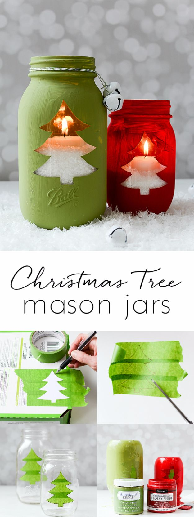 Cheap DIY Christmas Decor Ideas and Holiday Decorating On A Budget - Christmas Tree Mason Jars - Easy and Quick Decorating Ideas for The Holidays - Cool Dollar Store Crafts for Xmas Decorating On A Budget - wreaths, ornaments, bows, mantel decor, front door, tree and table centerpieces - best ideas for beautiful home decor during the holidays http://diyjoy.com/cheap-diy-christmas-decor