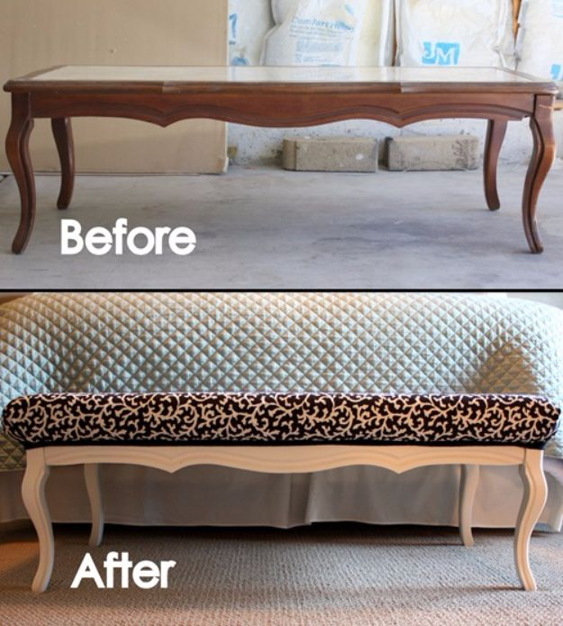 Best Furniture Hacks - Coffee Table To Bench - Easy DIY Furniture Makeover Ideas for Cheap Home Decor - IKEA Hack Tutorials, Dressers, Cribs, Storage, For Kids, Bedroom and Good Ideas for Bath - Anthropologie, Walmart, Kmart, Target http://diyjoy.com/best-furniture-hacks