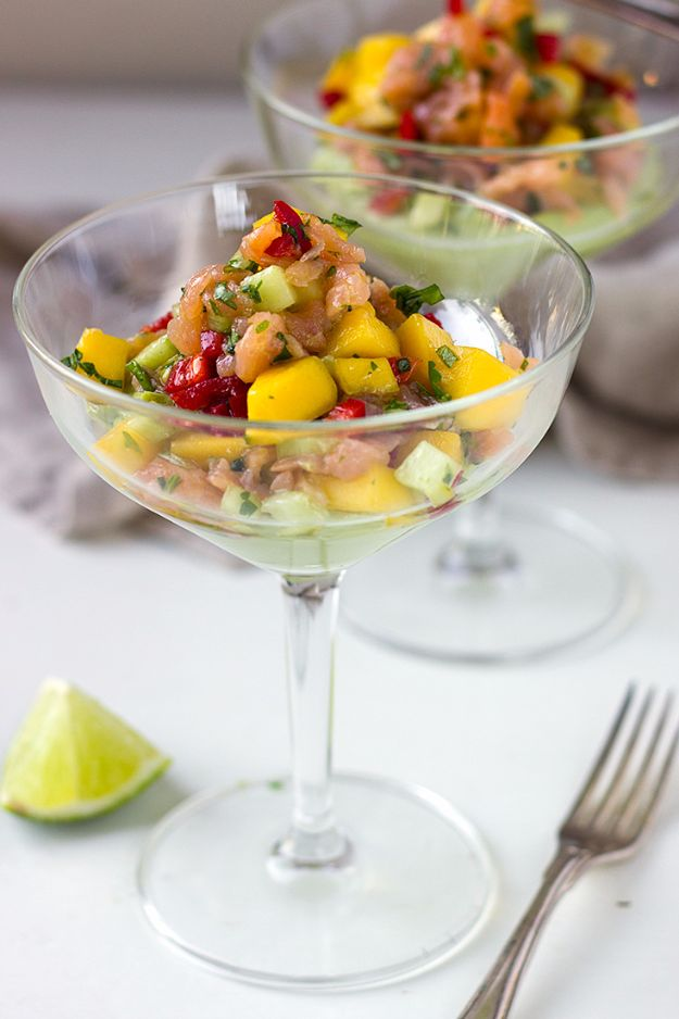 New Years Eve Party Recipes - Cold Smoked Salmon Cocktail With Avocado Cream - Best New Year Drinks, Cocktails, Appetizers and Party Foods for Your New Year's Eve Celebration - Quick Desserts, Snacks, Dips, Finger Foods, Cake and Champagne Toast Recipe Ideas - Fun and Easy Foods To Serve For A Crowd #newyears #recipes