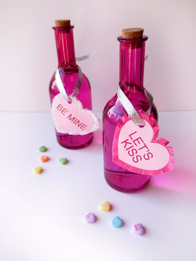 DIY Valentines Day Gifts for Him - Conversation Heart Vodka & Cupid's Kiss - Cool and Easy Things To Make for Your Husband, Boyfriend, Fiance - Creative and Cheap Do It Yourself Projects to Give Your Man - Ideas Guys Love These Ideas for Car, Yard, Home and Garage - Make, Don't Buy Your Valentine http://diyjoy.com/diy-valentines-gifts-him