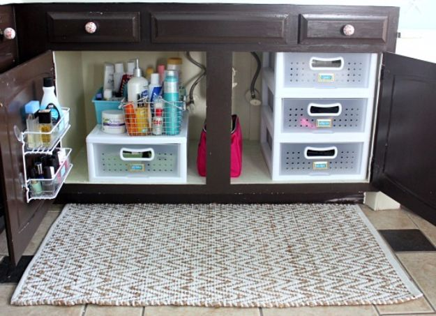DIY Bathroom Storage Ideas - Create Extra Drawers Under The Sink - Best Solutions for Under Sink Organization, Countertop Jars and Boxes, Counter Caddy With Mason Jars, Over Toilet Ideas and Shelves, Easy Tips and Tricks for Small Spaces To Organize Bath Products http://diyjoy.com/diy-bathroom-storage-ideas