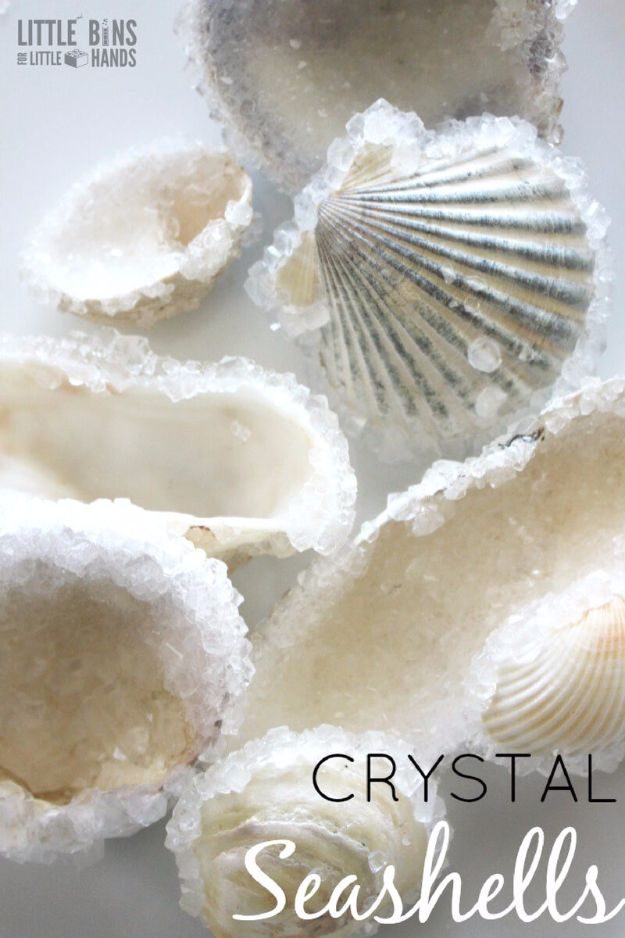 DIY Ideas With Sea Shells - Crystal Seashells - Best Cute Sea Shell Crafts for Adults and Kids - Easy Beach House Decor Ideas With Sand and Large Shell Art - Wall Decor and Home, Bedroom and Bath - Cheap DIY Projects Make Awesome Homemade Gifts http://diyjoy.com/diy-ideas-sea-shells