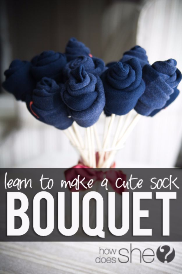 DIY Valentines Day Gifts for Him - Cute Sock Bouquet - Cool and Easy Things To Make for Your Husband, Boyfriend, Fiance - Creative and Cheap Do It Yourself Projects to Give Your Man - Ideas Guys Love These Ideas for Car, Yard, Home and Garage - Make, Don't Buy Your Valentine