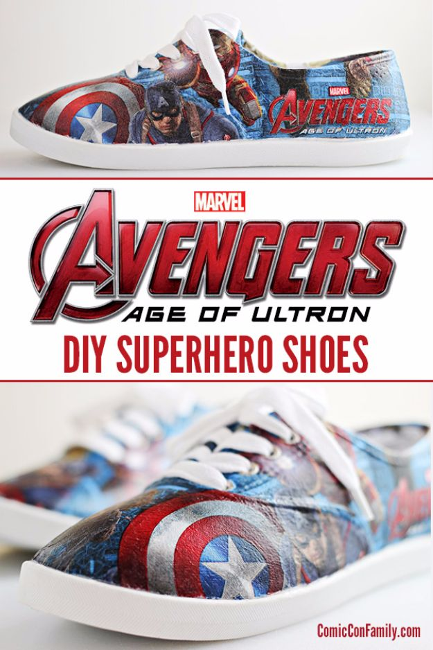 DIY Valentines Day Gifts for Him - DIY Avengers Superhero Shoes - Cool and Easy Things To Make for Your Husband, Boyfriend, Fiance - Creative and Cheap Do It Yourself Projects to Give Your Man - Ideas Guys Love These Ideas for Car, Yard, Home and Garage - Make, Don't Buy Your Valentine