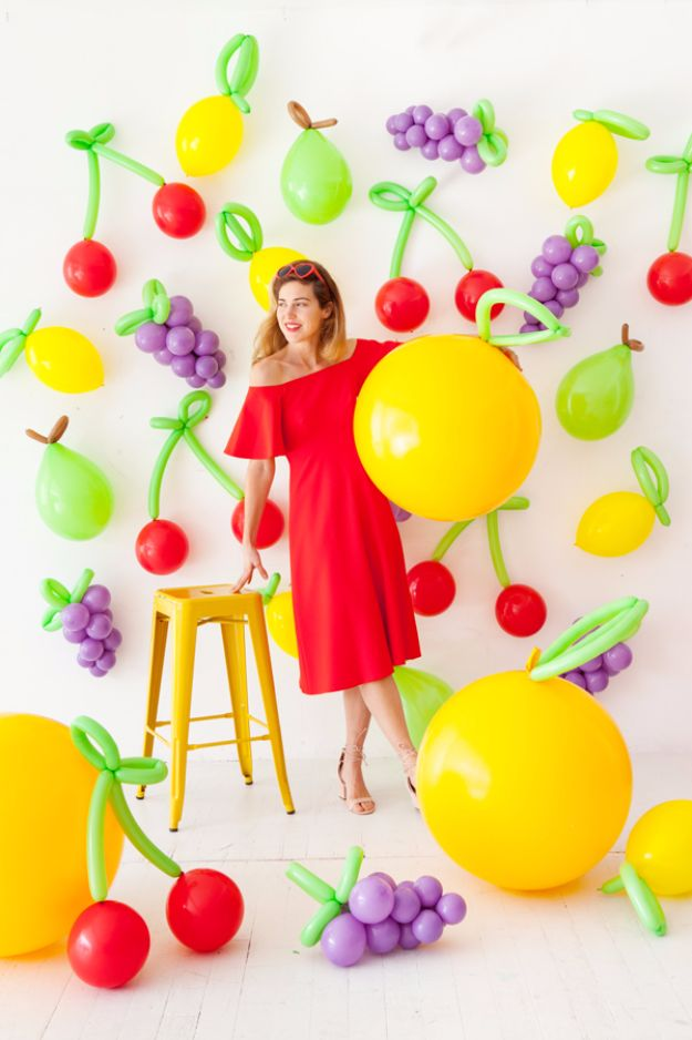 Balloon Crafts - DIY Balloon Fruit - Fun Balloon Craft Ideas, Wall Art Projects and Cute Ballon Decor - DIY Balloon Ideas for Toddlers, Preschool Kids, Teens and Adults - Cheap Crafts Made With Balloons - Pumpkins, Bowls, Marshmallow Shooters, Balls, Glow Stick, Hot Air, Stress Ball http://diyjoy.com/balloon-crafts