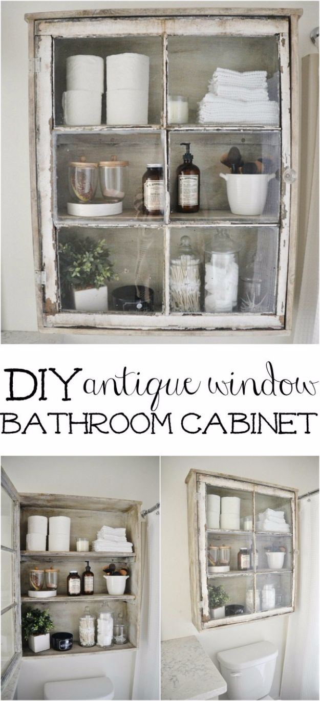 DIY Bathroom Storage Ideas - DIY Bathroom Cabinet - Best Solutions for Under Sink Organization, Countertop Jars and Boxes, Counter Caddy With Mason Jars, Over Toilet Ideas and Shelves, Easy Tips and Tricks for Small Spaces To Organize Bath Products http://diyjoy.com/diy-bathroom-storage-ideas