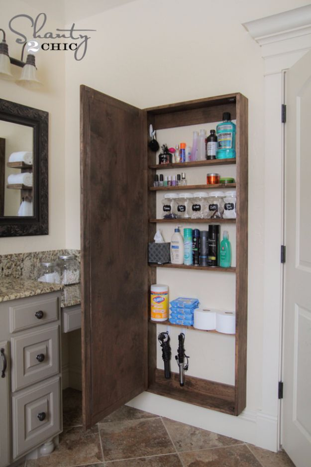 DIY Bathroom Storage Ideas - DIY Bathroom Mirror Storage Case - Best Solutions for Under Sink Organization, Countertop Jars and Boxes, Counter Caddy With Mason Jars, Over Toilet Ideas and Shelves, Easy Tips and Tricks for Small Spaces To Organize Bath Products http://diyjoy.com/diy-bathroom-storage-ideas