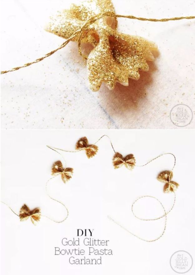 New Years Eve Decor Ideas - DIY Bowtie Pasta Garland - DIY New Year's Eve Decorations - Cheap Ideas for Banners, Balloons, Party Tables, Centerpieces and Festive Streamers and Lights - Cool Placecards, Photo Backdrops, Party Hats, Party Horns and Champagne Glasses - Cute Invitations, Games and Free Printables http://diyjoy.com/new-years-eve-decor-ideas